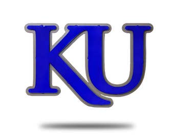 University of Kansas KU Vintage Blue on Natural Steel