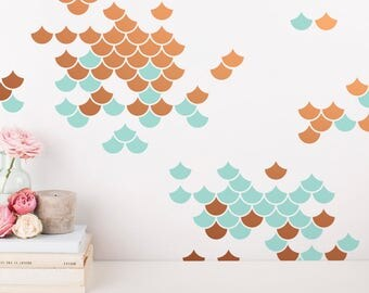 Mermaid Scale Wall Decals - 2-Color Wall Decals, Nursery Decals, Geometric Decals, Modern Wall Decals, Unique Wall Decor