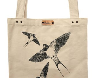 Barn swallows  - hand printed cotton tote bag