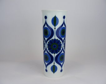 Large AK Kaiser Op Art vase with flower decor