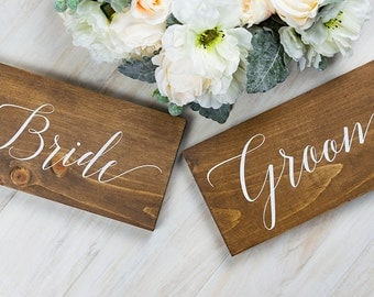Wedding Decor- Chair Signs for Bride and Groom- Wedding Chair Signs - Reception Decor- Wedding Signs - Rustic Wedding- Woodland Wedding