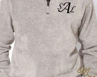 Monogram Fleece 1/4 Zip  - Monogram Fleece Pullover - Fleece Sweater - Quarter Zip Pullover