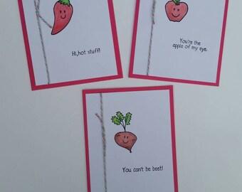 Punny Fruits and Veggies Three Cards Set