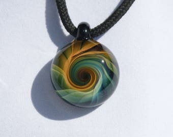 Hand Blown Glass Gold and Silver Fumed Swirl Pendant Boro Borosilicate