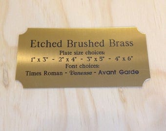 Engraved Custom Brass Plate - Personalized Plaque - Solid Brushed Etched Brass w/ Notched Corners - Title Sign - Trophy or Taxidermy Plate -