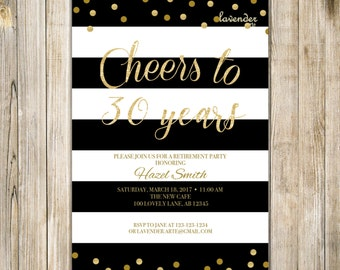 Cheers to 30 Years RETIREMENT Invitation, SURPRISE RETIREMENT Party Invite, Retirement Celebration, Farewell Party, Send Off Party, Retired