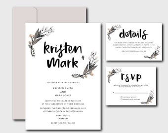 Invitation Suite | Brush lettered floral and white suite | DIY invitations