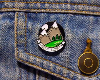 Mountain enamel pin, get Lost pin badge, adventurer lapel pin, lapel pin forest, wilderness lapel pin, soft enamel pin, travel enamel pin