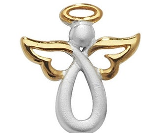 Sterling Silver Two Tone Angel Pendant