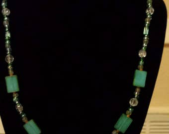 Green & Brown Sea Stone Necklace