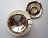 RESERVED ~ WHITECROFT Vintage Tea Strainer and Drip Bowl. 1950s English silver plated looseleaf tea infuser, perfect for a vintage tea party