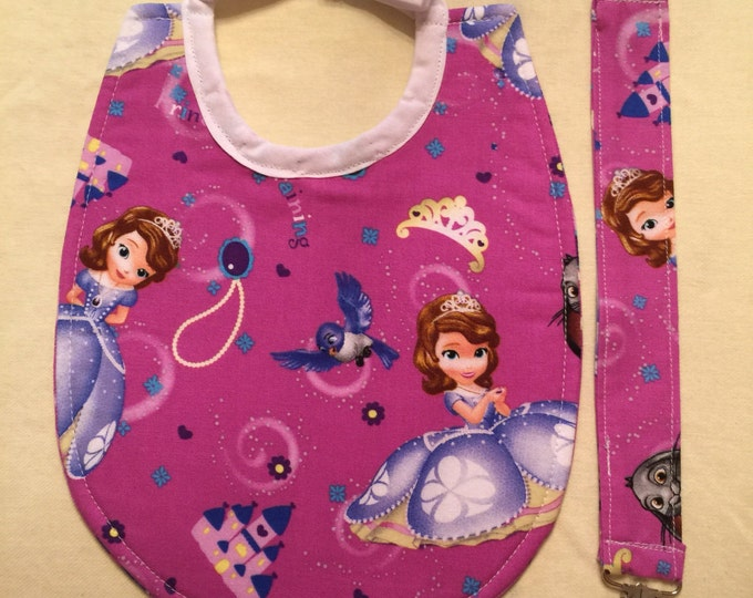 Baby Bib & Pacifier Clip Gift Set Sophia the First Inspired Fabric 2 Different Sets to Choose From