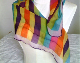 Vintage Head Scarf Or Neckerchief Sheer Crepey Fabric With Multi Colored Stripes