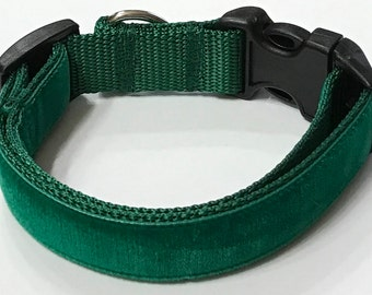 Dog Collar,Deep Emerald Green Velvet Ribbon Designer Dog Collar,Glitzy Custom/Puppy/Adult/Pet Collars Pet Supplies Dog Gift,Stocking Stuffer