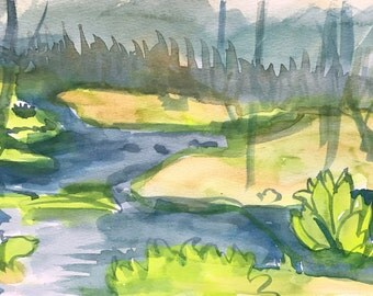 Swamp Study - original watercolor painting