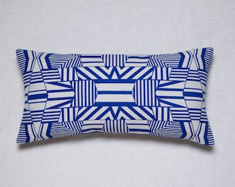 Electric Blue Cushion with Abstract Geometric Pattern Design / Hand Screen Printed