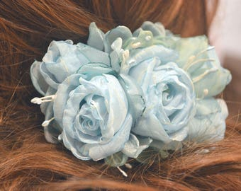 Barrette with flowers.  Barrette.  Hairpin machine.  Flowers .  Barrette with roses.  Blue barrette.