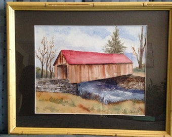 Covered Bridge in Autumn original watercolor painting matted,framed and signed