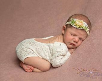 Newborn Stretch Lace Romper, Matching headband, Newborn Bodysuit, Open Back Lace Romper, Baby Girl Photo Prop, Newborn Prop,  UK Seller