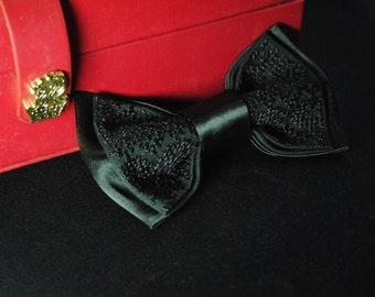 black bow tie embroidered satin bowtie wedding necktie groom tuxedo gift men ties for groomsmen best man boyfriend gift werße hochzeitskleid