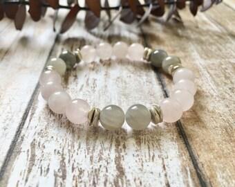 Pink Gray Moonstone Silver Wellness Bracelet, Healing Crystals, Yoga Bracelet, Positive Energy, Gifts for Her, Gemstone Bracelet
