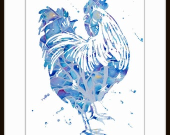 Rooster Art Print, Rooster Decor, Rooster Watercolor Art, Rooster, Rooster Wall Decor 135