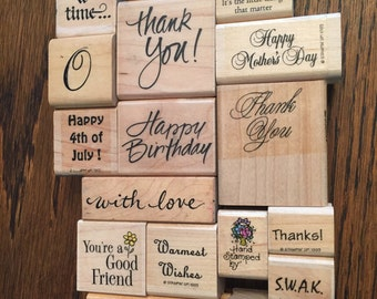 Lot of 18 Thank you and other appreciation type Rubber Stamp art Fonts sayings