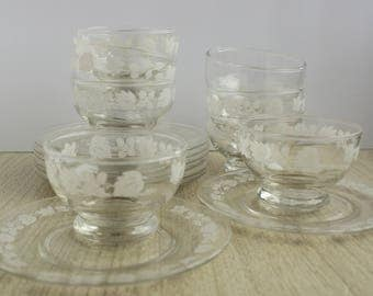 Bartlett Collins Grapevine Custard Cups 8 - Vintage Glass Custard Cups Frosted Grapevine - Set of 8 Vintage Custard Cups - Vintage Glass Cup