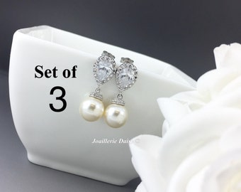Set of 3 Swarovski Earrings Dangle Earrings Pearl Bridal Earrings Wedding Jewelry CZ Earrings Bridesmaid Gift for Her Ivory Earrings