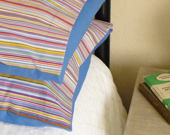 Multi-Coloured Bedroom Pillow Shams Cases in Striped Cotton Fabric