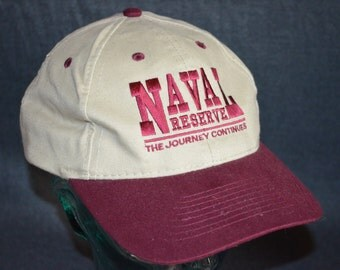 Vintage Naval Reserve: The Journey Continues Adjustable Baseball Cap Hat (One Size Fits All)
