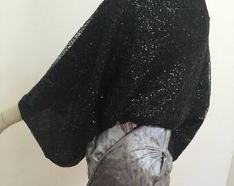 Black Sequin Shoulder Shrug. Women's Evening Scarves. Formal Sparkly Wrap. Black Sequin Shawl. One Size Gifts for Her