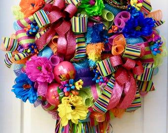 Deluxe Fiesta Wreath, Deco Mesh Fiesta Wreath, Fiesta Decor, Cinco De Mayo Wreath, Spring Wreath, Cinco De Mayo Decor, Fiesta San Antonio