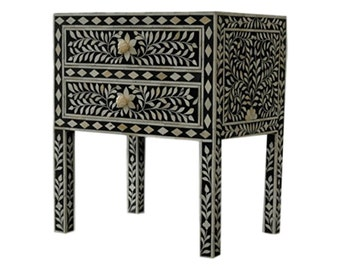 Bone Inlay End Table -   Black Nightstand Side Table Floral Pattern | Free Shipping