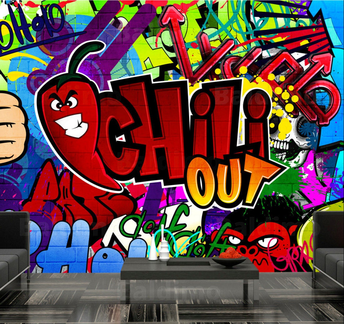 photo wallpaper wall murals non woven graffiti chill out zoom