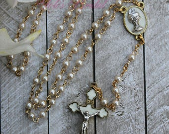 FAST SHIPPING!! Handcrafted Beautiful First Communion Rosary, Communion Rosary, Confirmation Rosary, Rosary Gift, First Communion Gift