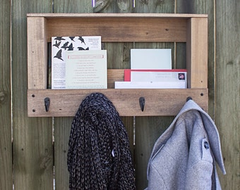 Handcrafted Mail Organizer Coat Hanger - Reclaimed Wood Decor