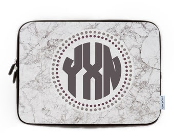 Marble Monogram Laptop Sleeve 15.6, Laptop Bag,Laptop Sleeve 15, Custom Marble Laptop Case,Custom Monogram Laptop Case, gift for a co-worker
