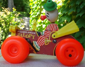 1965 Fisher Price Jalopy 724 // Clown In Car Pull Toy // Vintage Child Room Decor // Red Nose Clown Green Hat // Vintage Fisher Price