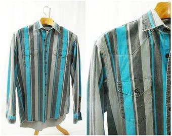 Wrangler Acid Wash Denim Western Shirt // Vintage Wrangler 80's or 90's Striped // Large