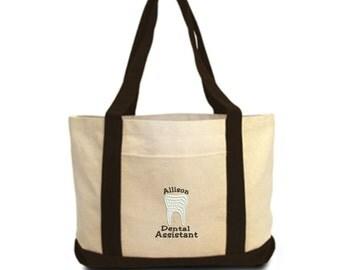 Dental Assistant Monogram  Canvas Tote Bag - Monogrammed. Embroidered Bag. 8869