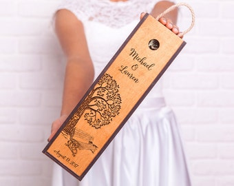 Personalized wine box wedding wine box Engraved wood wine box Tree with bench Custom wedding gift Housewarming Gift Anniversary Gift