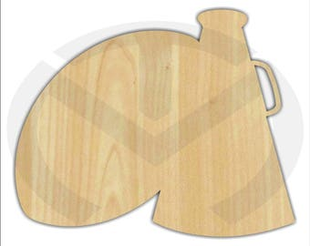 Unfinished Wood Football & Megaphone Shape Laser Cutout, Wreath Accent, Ready to Paint and Personalize to your Favorite Team!