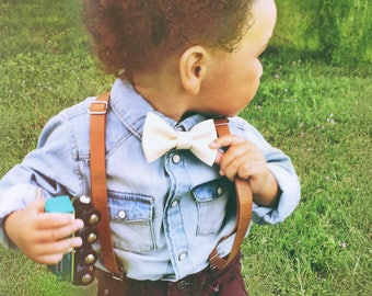 Ring Bearer Outfit Rustic Wedding Suspenders Baby Leather Suspenders Boys Leather Suspenders Toddler Suspenders Braces Brown Baby Suspenders