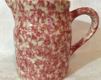 Henn Pottery Red Spongeware Quart Pitcher