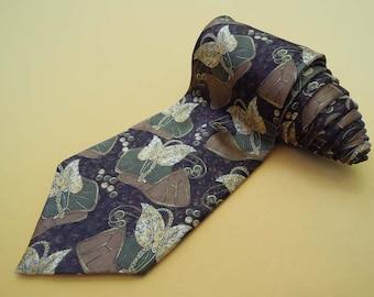 Lanvin Tie Pure Silk Floral Pattern Black Vintage Designer Dress Necktie Made In France