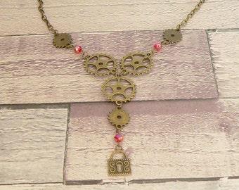 Red Steampunk Necklace, Steampunk Statement Necklace, Cog Necklace, Steampunk Jewellery, Steampunk Jewelry, Cog Jewellery, Lock Necklace