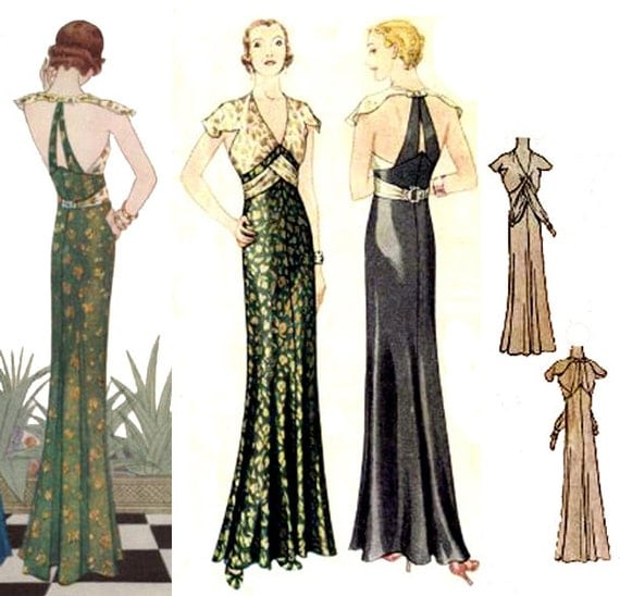 1930s Fashion Colors, Clothing & Fabric 1932 Evening Gown Pattern by EvaDress!  AT vintagedancer.com