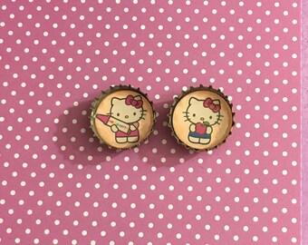Hello kitty bottlecap magnets crayon& apple set