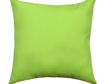 READY TO SHIP Lime Green Outdoor Pillow Covers, Solid Green Throw Pillows, Sundeck Lime Outdoor Cushions With Hidden Zippper